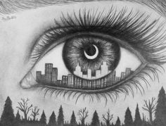 Cool city/country in an eye drawing