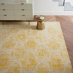 Distressed Floating Ikat Wool Rug, Lemon Curry, 9'x12'