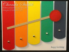 Xylophone card--cute & a great way to use scraps