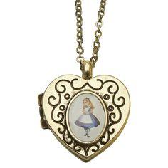 Colar Relicário Coração - Alice no País das Maravilhas
