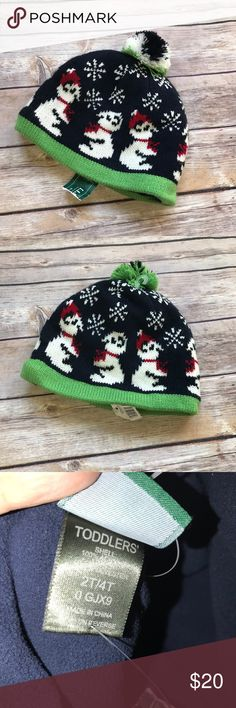 LL Bean Katahdin Polar Bear Hat Navy Green 2T/4T LL Bean Katahdin Polar Bear Hat Navy Green 2T 3T 4T  New with tag. Beanie style with poof on top. Super cute with bears. Fleece lined. 100% acrylic with 100% polyester lining L.L. Bean Accessories Hats