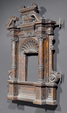 "Tabernacle frame, Renaissance, Florence circa 1600 - Koller Auctions. Shaped and finely carved walnut. 29.5"" h x 24"" w"