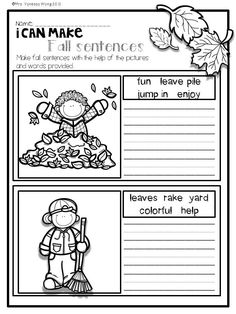 Download free printables at preview. I can make fall sentences. Fall Math and Literacy No Prep - First grade. An excellent pack with a lot of sight word, vowels, vocabulary, word work, grammar, reading, writing, fluency and other literacy activities and practice