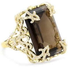 """Katie Decker """"Versailles"""" 18k Smoky Quartz and Diamond Ring, Size 7 ❤ liked on Polyvore"""