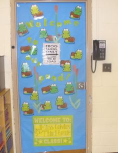 "Here is my frog theme classroom door.  ""Welcome to the Pond!"" The sign says- ""Frog Parking Only. All Others Will Be Toad."""