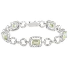 Dolce Giavonna Sterling Silver Green Amethyst and Diamond Accent Link... ($41) ❤ liked on Polyvore featuring jewelry, bracelets, purple, polish jewelry, formal jewelry, sterling silver jewellery, sterling silver bracelet and bracelet jewelry