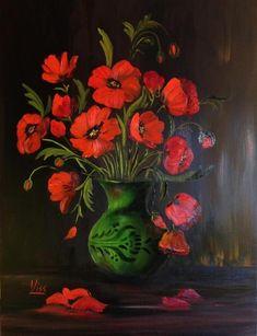 Pipacsok zöld vázában. olaj, farost 40x30