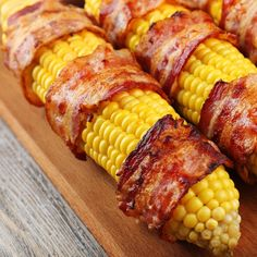 Wow how bad could it be. Everything is better with bacon. What a delicious treat for a nice barbecue meal. Grilled Bacon Wrapped Corn Recipe from Grandmothers Kitchen. Tailgating Recipes, Barbecue Recipes, Grilling Recipes, Cooking Recipes, Bbq, Vegetable Side Dishes, Vegetable Recipes, Bacon Wrapped Corn, Bacon On The Grill