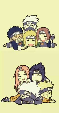 Naruto Day favorite team Well this is very tricky for me. I really like team Minato but then again I like Team Kakashi. :/ so both team Minato and Kakashi are my favorite teams! Naruto Team 7, Naruto Fan Art, Naruto Kakashi, Anime Naruto, Chibi Anime, Naruto Comic, Naruto Cute, Naruto Shippuden Sasuke, Otaku Anime