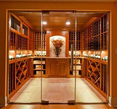 Picture gallery of custom wine cellars by Valentini's. Get some ideas of what you may like to include in your wine cellar. Wine Cellar Racks, Wine Rack, Wine Cellars, Wine Cellar Design, Wine Design, Wine Dispenser, Wine And Beer, Wine Storage, Glass Door