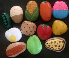 Play Food Mud Kitchen Painted Rocks Pretend Play Play Kitchen Set Toys 12 P. Outdoor Play Kitchen, Mud Kitchen For Kids, Play Kitchen Sets, Diy Mud Kitchen, Play Kitchens, Grandparents Day Crafts, Fathers Day Crafts, Rock Crafts, Diy Crafts