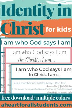 Have a child who struggles with anxiety or social pressures? I know the feeling, Momma Friend. Learn how to help your child understand their identity in Christ with these printable wall art downloads. In this post, we'll talk about equipping our kids with self-confidence that comes from knowingthat their self-worth is based on who they are in Christ. Bible Resources, Parent Resources, Homeschool Curriculum, Homeschooling, Inductive Bible Study, Morning Devotion, Improve Confidence, Adhd Brain, How To Teach Kids