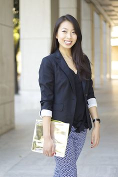 Blogger Connnie Tang's office look featuring printed pants, blazer, and Maya Brenner's California State Necklace