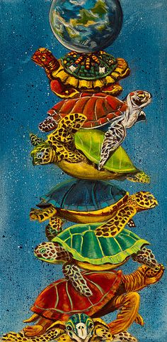 Title  Turtles All The Way Down   Artist  Susan Culver   Medium  Painting - Acrylic On Canvas