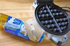 Little Bit Funky: cinnamon rolls in a waffle iron! who knew! Waffle Iron Cinnamon Rolls, Quick Cinnamon Rolls, Cinnamon Roll Dough, Cinnamon Roll Waffles, Breakfast For Dinner, Breakfast Time, Breakfast Recipes, Breakfast Ideas, Breakfast Muffins