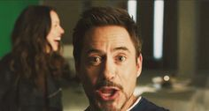 "Robert Downey Jr. and Rebecca Hall, ""Iron Man 3"" gag reel."