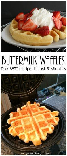 Hands down the best fast buttermilk waffle recipe. Great for fast meal breakfast or brunch or even dinner with chicken.