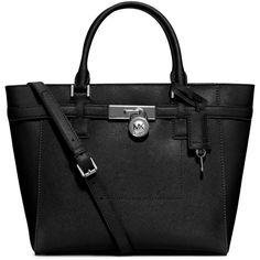 MICHAEL Michael Kors Hamilton Large Saffiano Tote Bag ($298) ❤ liked on Polyvore featuring bags, handbags, tote bags, black, saffiano leather tote, zipper purse, zippered tote, black tote bag and black purse