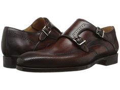 Magnanni Brown Perforated Leather Monk Strap Oxfords