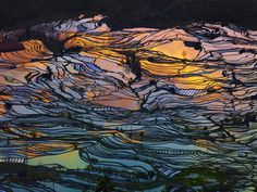 Photograph God's Palette by Thierry Bornier. Laohuzui in Yunnan at sunset #China