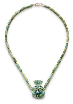 An Egyptian faience bead necklace, Ptolemaic Period to Roman Period, circa 100 BC-100 AD. Starting bid $1,200.