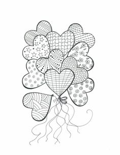 Heart balloons with patterns colouring in, mandala coloring, coloring books, easy mandala drawing Heart Coloring Pages, Colouring Pages, Adult Coloring Pages, Coloring Books, Heart Doodle, Doodle Art, Doodle Images, Zentangle Patterns, Embroidery Patterns
