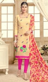 Churidar Kameez in Cream Color Embroidered Chanderi #churidarindiaonline#churidarsuitsonline You will be the center of attention in this churidar kameez in cream color embroidered chanderi. This stunning attire is displaying some astounding embroidery done with lace work. USD$ 57(Around £ 39 & Euro 43)