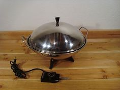 Farberware 14 inch Stainless Steel Electric Wok 303 with Steamer Rack 1000 Wats | eBay