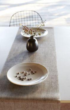 beachstone table runner | kasala | natural elements | pinterest