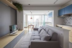 Cazo Apartment: An Apartment Renovation with Modern Minimalist Interior and Awesome City View – Futurist Architecture Studio Apartments, Small Apartments, Small Spaces, Living Place, Living Area, Living Room, Interior Minimalista, Apartment Renovation, Apartment Interior Design