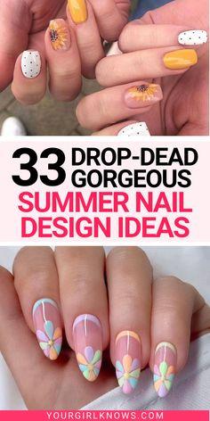 Gel Nail Designs, Ring Designs, Art Designs, Summer Acrylic Nails Designs, Cute Summer Nail Designs, Acrylic Nails For Spring, Nail Designs Spring, Stylish Nails, Trendy Nails