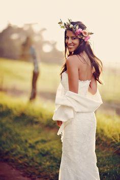 Wedding Dress: La Sposa By Pronovias - http://www.stylemepretty.com/portfolio/la-sposa-by-pronovias Photography: Tamiz Photography - http://www.stylemepretty.com/portfolio/tamiz-photography   Read More on SMP: http://www.stylemepretty.com/2014/08/29/boho-chic-maui-wedding/