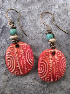 Mixed Media Polymer Clay Rustic Boho Tribal by SpontaneousSoul, $11.00