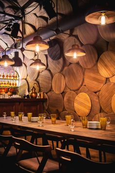 Interior design Restaurant Murals, Shustov Brandy Bar by Belenko Design Band in Odessa, Ukraine Interior Design Bar Restaurant, Brewery Design, Deco Restaurant, Cafe Design, Wine Bar Design, Cellar Design, Luxury Restaurant, Rustic Restaurant, Bar Interior