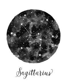 Sagitario constelación ilustración Vertical por fercute en Etsy