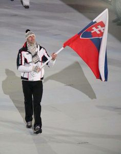 Opening Ceremonies. Zdeno Chara carrying flag for Slovakia.