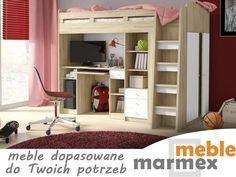 Łóżko z biurkiem dla dzieci antresola UNO marmex