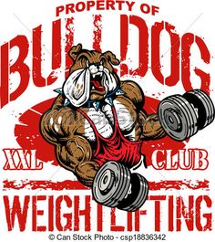 Vector - bulldog weightlifting - stock illustration, royalty free illustrations, stock clip art icon, stock clipart icons, logo, line art, EPS picture, pictures, graphic, graphics, drawing, drawings, vector image, artwork, EPS vector art