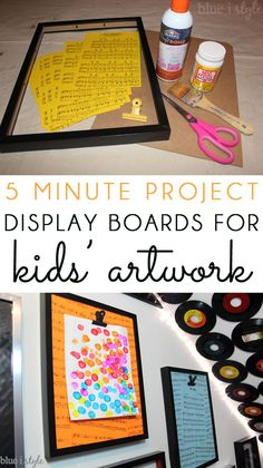 KIDS ART DISPLAY BOARDS: Turn an inexpensive photo frame into a stylish display board to showoff your kids' art work! Sheet music adds a fun touch for a creative playroom! And hanging with Command Brand Picture Hanging Strips ensures that the display boards stay securely in place while children taken put their art up and take it down.