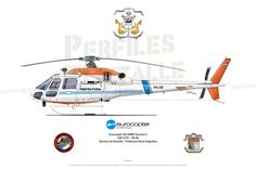 "Eurocopter AS-355NP ""Ecureuil"" S/Nº 5779 - PA-80 Servicio de Aviación Prefectura Naval Argentina Camouflage, Aircraft Design, Emergency Vehicles, Aviation Art, Military Aircraft, Airplane, Air Force, Transportation, Train"