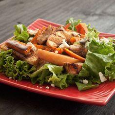 Cinnamon-Roasted Sweet Potato & Apple Salad with Caramel Vinaigrette Chicken (the best fall salad) - boys ahoy