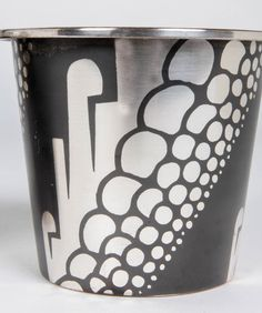 Rudolf RIEGER / WMF Ikora Germany Art Deco Dinanderie Pair of Vases c. 1930 - Brass with a black patina and stylized silver inlay in a geometric motif.