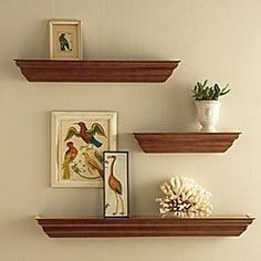 something like this above shoe bench. Place family pictures on shelves.