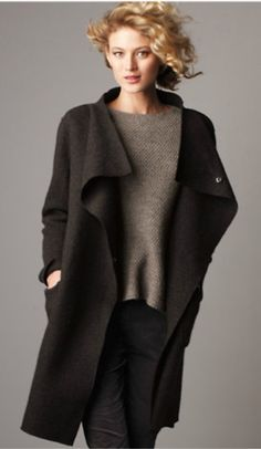 Eileen Fisher Long Black Boiled Wool Coat