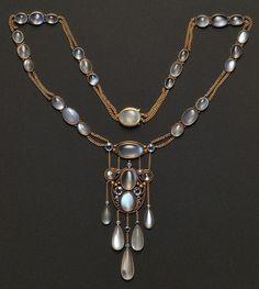 Moonstone & sapphire necklace