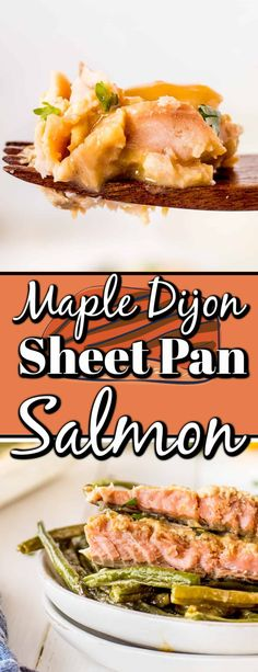 Maple Dijon Sheet Pan Salmon Dinner is not only healthy but delicious. It comes together in 30 minutes, and clean-up is a breeze with only using one pan. Shellfish Recipes, Seafood Recipes, Full Course Dinner, Healthy Weeknight Meals, Easy One Pot Meals, Salmon Dinner, Cooking Salmon, Best Dinner Recipes, Healthy Vegetables