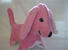 Handmade Plush Stuffed Animal Dog Baby Pink Basset by greenlioness on etsy.