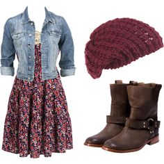 Floral Mini Flowy Dress, Jeans Jacket, Knitted Cap And Shoes- Totally my style. - Floral Mini Flowy Dress, Jeans Jacket, Knitted Cap And Shoes- Totally my style… Source by etsshowflowinter - Mode Outfits, Casual Outfits, Fashion Outfits, Womens Fashion, Dress Fashion, Country Chic Outfits, Country Hats, Vans Fashion, Fashion Wear
