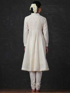 Buy Ivory Benarasi Cutwork Pintuck Chanderi Angrakha Kurta Online at Jaypore.com