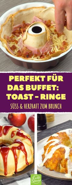 These rings of toast are the hit for every brunch buffet! A whole new idea for the hearty breakfast. rnrnSource by leckerschmecker Breakfast And Brunch, Breakfast Casserole, Toast Pizza, Tostadas, Brunch Buffet, Keto Crockpot Recipes, Christmas Brunch, Food Humor, Party Snacks